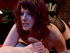Mean and sexy Madeline has her ways with men. She tied this one and grabbed his cock firmly. As she rubs his penis the devilish mistress fingers his anus and induces him more pleasure then he can bare. Yeah, she's a skilled bitch that knows how to make a guy cum! Stick with her and see everything she has