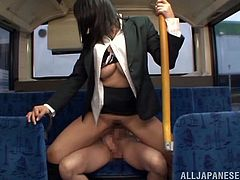 Curvaceous Hana Haruna gets her big boobs and ass touched by a stranger in the bus. Hana does not mind to have sex before the work. She gives a blowjob sitting on her knees and then gets banged in her pussy. The girl also gets facialed. In fact no one cares about what is happening in the bus.