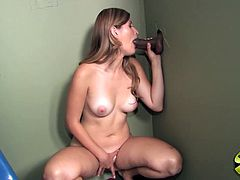 Lustful blonde Reggie Burnett is having a good time in a toilet. She shows her body for the camera and then finds a black dick sticking out of a gloryhole and sucks it ardently.