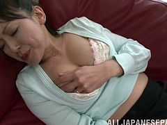 Sizzling Japanese milf Ayumi Takanash wearing pantyhose is having fun indoors. She massages her nice natural tits and also fingers her coochie ardently.
