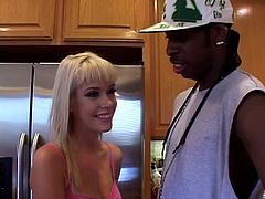 Nice blonde babe gives a blowjob to a muscled Black guy in a kitchen. Kissy gets fucked from behind in a standing up position. The girl gets fucked and facialed in a living room.