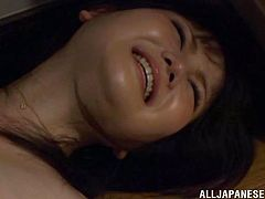 A horny ass Japanese hottie sucks on a hard cock and gets it shoved balls deep into her fuckin' gash, check it out right here!
