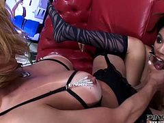 Attractive babe with awesome body and nice curve gets her pussy fucked hard missionary and sucks the cock of the light haired shemale. Have a look at this chick in Pinko Shemale sex video.