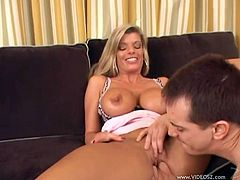 Kristal Summers shows off her huge boobs and gets her cunt licked. This slutty cougar gives a blowjob & handjob combo and gets banged in her bald pussy. A guy also cums on Kristal's face.