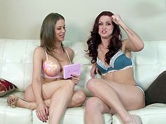 They were sitting on the couch in undies and then babes take each other's panties off to help each other with some masturbation.