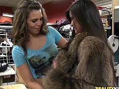 Two amazing girls are playing lesbian games in a clothes store. The cuties favour each other with cunnilingus and fingering and enjoy it much.