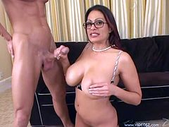 Curvy Ava Lauren gets her shaved pussy licked by a younger dude. Then this MILF gives a blowjob and a titjob. Ava gets fucked on a sofa and also takes cum in her mouth.
