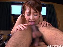 This sexy Japanese pornstar Azumi has a lot more to offer than just a massive pair of tits. She rests her boobs on her man's face and let him lick them, but what else does she have in store. She makes him open his legs and spread his ass cheeks so she can give a rimjob.