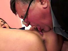Young hot ass Alice Romain rides on old man