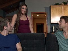 Stunning Kennedy Leigh shows her nice boobs and also lifts a skirt up. A guy licks Kennedy's yummy vagina and also fucks her doggystyle. The girl also gives head to the guy.