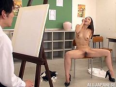 Gorgeous Sayuri Honjyou takes off her clothes and poses for a painter. This girl cannot just sit, so she opens her legs and starts to finger her hot pussy.