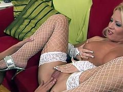 Slutty milf in white lingerie amazed by deep fisting received from her young and horny daughter