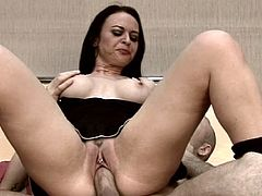 Her cramped holes are enough ravaged by two tasty cocks