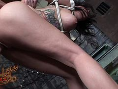 This sexy chick with huge tits is bound hand and foot and totally helpless to this dude's will. Horny dude bends her over and fucks her tight snatch mercilessly in and out loosening up her once tight hole.
