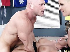 Johnny Sins shows nice sex tricks to With big booty with the help of his rock solid snake