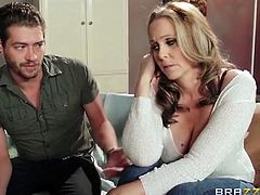 Brazzers Network brings you an awesome free porn video where you can see how the busty blonde milf Julia Ann rides a hard cock into heaven while assuming very hot poses.