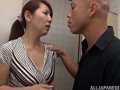 A pleasurable Japanese girl takes off pantyhose and lifts a skirt up. A guy fingers Misa's pussy and then fucks her from behind in a toilet.