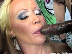 Lustful blonde mom Bailey Brooks wearing panties is getting naughty with a group of black studs. The men fuck Bailey's mouth and pussy and use her face as a cum target.
