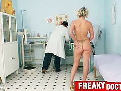 An incredible hot brunette visits freaky doctor in his gynecological office. The doctor runs his practice without a valid license but he don't mind moreover he can't resist to stick his freaky fin