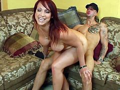 The nasty ass whore Nikki Hunter sucks sucks this dude real hard and fuckin' rides his cock like the skilled bitch she is and takes the cum in her mouth.