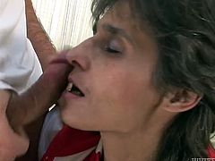 Nasty and whorish slut gives her horny friend a blowjob and then lets him pound her hairy pussy hard from behind on the bed.