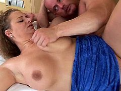 Be part of this video where a chubby lady, with big knockers and a shaved cunt, while she gets fucked hard in the missionary position.