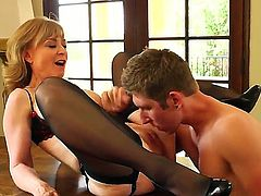 Mature bitch Nina Hartley put on her sexiest clothes with stocking and high heels on she seduces a young stud Danny Wylde and made him fuck her like she hasnt been fucked in ages