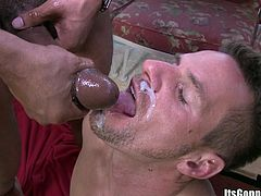 A horny gay dude gets his asshole fucked by a big ass black dick and then gets his face covered with cum, check it out right here!