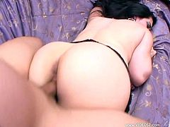 Chubby brunette mom Slut Raven is having fun with two men indoors. She sucks their wangs and then gets her meaty shaved twat pounded hard.