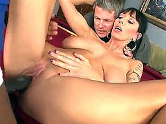 Dark haired cuckold Alia Janine with perfectly shaped body and big natural gaongas gets boned deep by black bull Sean Michaels on billiard table while her hubby Jimmy Broadway is watching.