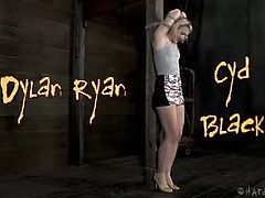 Dylan Ryan screams and almost sheds tears when Cyd Black inflicts pain on her nipples, ass cheeks and pussy. The pain gets more intense as he moves on from tits to ass.