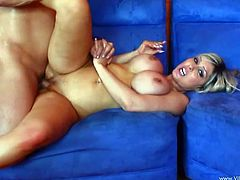 Stunning blonde mom Jenna Cruz shows her big fake tits to some man and gives him a blowjob. Then she sits down on his weiner and they fuck in reverse cowgirl position.