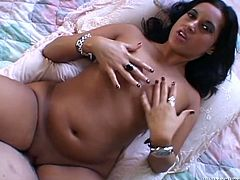 That black haired kinky bitch with small tits enjoys getting her kitty hammered in missionary position. Meanwhile she rubs her hungry pussy with small dildo. Just watch this lusty bitch in Fame Digital porn clip!