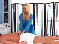 Her skills are making the guy to go crazy during erotic massage