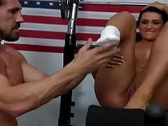 Share this with your friends! Watch this brunette babe, with a nice butt wearing sportive clothes, while she goes hardcore in a reality video.