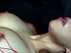 Busty shemale wearing sexy fishnet outfit gets her anus drilled hard by hot tempered guy. He penetrates her ass hole missionary style from behind and plays with her fake juicy boobs.