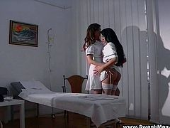 Make sure you take a look at this hot lesbian scene where these gorgeous nurses give you a boner as they take off their clothes and play with each other.