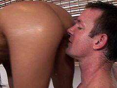 Being so horny, brunette beauty can't help from sucking on this hot male's tasty cock