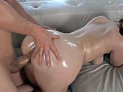 Erik Everhard and Ryan Smiles gonna screw so hard. The beauty is getting her big perfect ass oiled before feeling guys big throbbing dong so deep into luscious snatch.