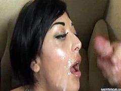 Nasty Little Facials brings you a hell of a free porn video where you can see how the nasty brunette Audrianna Angel sucks two hard rods of meat and gets creamed.