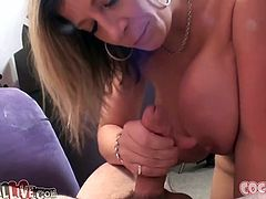 Sara Jay is a stunning mature woman with curves in all the right places. Cock crazed sexpot knows how to give a good blowjob. She sucks her lover's dick like there's no tomorrow.