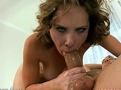 Naughty chick Katie St Ives knows how to give a good blowjob