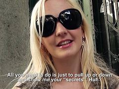 Asking some girls to undress is simpler than you´ve ever thought! Look at the funny part and don´t forget about the money part. Today a blonde chick met in the street showed her small tits to the camera. Watch now how another sexy bomb with long brown hair lets herself convinced to undress!