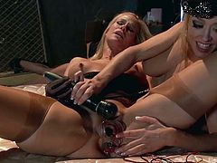 If you love the combination of hot blondes and electricity, then you have to watch this kinky video! A lesbian couple gets loose and uses electrodes and a big vibrator to have fun. A horny slut wearing hat plays dirty with her companion´s pussy while the later has widely spread her long legs. Click!