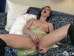 Horny redheaded mature named Bianca is ready to spread her legs wide and toy her asshole for her very first anal orgasm. Her toy slides so easily in that booty.