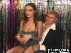 Checkout this sexy brunette babe with huge tits and lovely big lips is Angelina Valentine.See how this licky fan of her pops his cock out and then she grabs that cock for hot sucking.