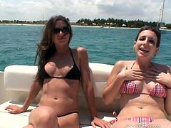 A couple of gorgeous babes having hot ass sex right here in this yacht right here in this clip, hit play and check it out!
