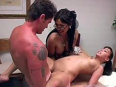 Mika Tan and Avena Lee lick each others pussies at work. After some time a guy joins the girls. He fucks both Asian hotties. He makes them scream loudly.
