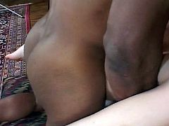 Big black meaty cock fills white cunt, sucked and fucked doggy style . She explains how she is able to not only squirt but gush all over the place. See how to teases her with his big black cock