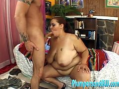 Touch yourself watching this redhead BBW, with giant gazongas wearing high heels, while she goes hardcore and plays with a wicked toy.